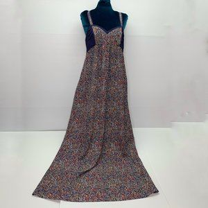 BCBGeneration Maxi Dress 10 Lined Button Back Blue